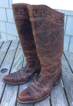 Vintage Arias Women's SAHARA Knee High Cowboy Boot Size 8.5B US #10011941