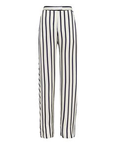 Nicholas Striped Wide-Leg Pant: All time chic stripes lend a lengthening effect to these on-trend wide-leg pants. Zipper/hook/zip closure. Two slant frontal pockets and two welt pockets at rear. In navy/black/white. Fabric: 100% silk Contrast: 95% polyester/5% spandex Made in ...