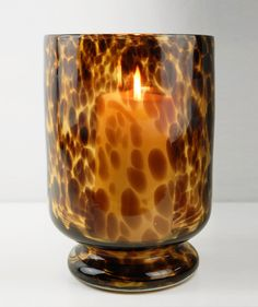 Leopard Glass Hurricane Candle Holder