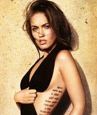 megan fox, love this chicks tattoos Girl Rib Tattoos, Tattoos On Side Ribs, Quote Tattoos Girls, Tattoos For Women, Cool Tattoos, Tatoos, Tattoo Ribs, Awesome Tattoos, Megan Fox Transformers
