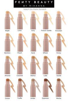 Fenty Beauty Matte Match Skin Sticks - Matte Highlight, Matte Concealer, Matte Contour