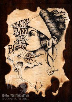 Original artwork - Gypsy circus vintage style ink tattoo wood by Isobelvonfinklestein, $150.00