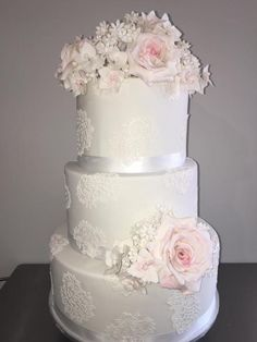 Beautiful 3 Tier Wedding Cake by Rimma - http://cakesdecor.com/cakes/254548-beautiful-3-tier-wedding-cake