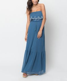 Love this Denim Blue Embroidered Strapless Maxi Dress by Caralase on #zulily! #zulilyfinds