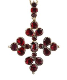 Georgian Garnet Pendant Necklace -- A Georgian garnet cross pendant Set throughout with flat table-cut garnets in closed setting, on three stone garnet bale, with modern gold box-link chain,. Victorian Jewelry, Antique Jewelry, Vintage Jewelry, Pendant Set, Cross Pendant, Garnet Pendant, Pendant Necklace, Modern Jewelry, Fine Jewelry