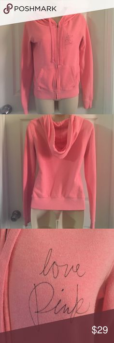 VS PINK hot baby pink full zip hoodie. Gently used mild pilling from washing (last two photos) No stains holes or other defects. PINK Victoria's Secret Tops Sweatshirts & Hoodies