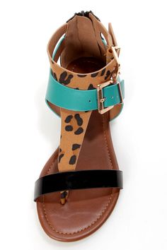 Soda Adam Leopard Multi Buckled T-Strap Thong Sandals - $22.00