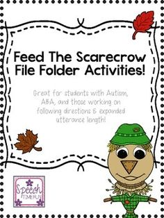 "The testimonials prove it: Your kiddos can't get enough of my ""feed the..."" file folder packs! This Feed the Scarecrow resource is no different! Get fall festive in your speech and language therapy room and welcome the fun of Halloween and scarecrows while motivating your students to practice all of the skill targets this resource has such as following directions, syntax, expanding utterance length, vocabulary, wh questions, and more! Hands on, interactive, fun!"