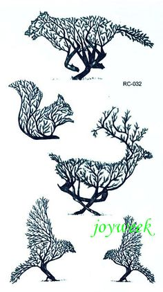 Waterproof Temporary Tattoo Sticker tree wolf squirrel deer bird Water Transfer fake tattoo flash tattoo for girl women man