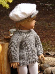 "OOAK Hand Knit Sweater & Cap set for American Boy/Girl Dolls & 18"" Gotz Dolls"