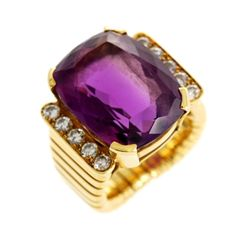Amethyst Diamond Gold Ring | From a unique collection of vintage cocktail rings at http://www.1stdibs.com/jewelry/rings/cocktail-rings/
