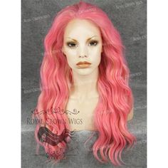 "24"" Synthetic Lace Front Wig Summer Pool Party, Synthetic Lace Front Wigs, Crown Royal, Blonde Highlights, Natural Looks, Lace Wigs, Aurora Sleeping Beauty, Pink, Hair"