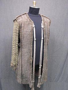09006479 Jerkin Men's Medieval Distressed Brown Grey Nubby Weave C44.JPG