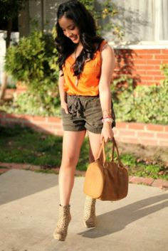 orange top, shorts and booties