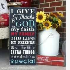 I Give Thanks to God for... Vintage Style by barnowlprimitives, $95.00
