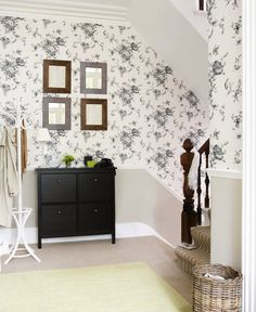 Most design ideas hallway wallpaper ideas pictures, and insp Ikea Built In, Built In Storage, Hallway Wallpaper, Wallpaper Ideas, Banisters, Built In Cabinets, Hallway Ideas, Hallway Decorating, Accent Colors