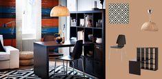 Mustanruskeat EXPEDIT-pöytä ja -hylly sekä mustanruskeat/kromatut VILMAR-tuolit