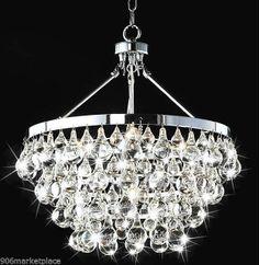 Robert Abbey Style Bling Chandelier Chrome Crystal Modern Pendant 5 Light Decor