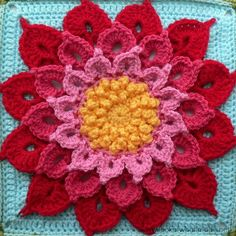 Want to learn how to crochet a flower using the crocodile stitch? If you're not saying yes now, just wait until you see the Crochet Crocodile Stitch Flower Square. Motifs Granny Square, Crochet Blocks, Granny Square Crochet Pattern, Crochet Flower Patterns, Afghan Crochet Patterns, Crochet Squares, Crochet Flowers, Granny Squares, Crochet Afghans