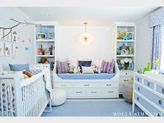 """Sims also took into consideration how often she and her husband would visit their son's room: """"I wanted it to feel like a sanctuary for mama and daddy too!"""" Which is why she included a comfy storage bench full of plush printed pillows and stuffed dolls – perfect for cuddling."""