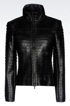 Armani Collezioni Women Leather Jacket - NAPA LAMBSKIN JACKET WITH RAW CUT DETAILS Armani Collezioni Official Online Store,