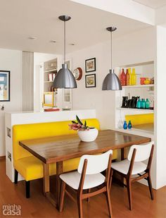 4 Relaxing Cool Tips: Kitchen Remodel On A Budget Renovation small kitchen remodel ranch.Large Kitchen Remodel Joanna Gaines kitchen remodel on a budget renovation.White Kitchen Remodel Back Splashes. Kitchen Dining, Kitchen Decor, Dining Bench, Kitchen Layout, Dining Tables, Dining Nook, Kitchen Ideas, Banquette Table, Yellow Dining Chairs