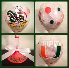 University of Miami Wine Glass Hand Painted ~ Sebastian the Ibis Glasses ~ Miami Hurricane Glasses ~ Sport Fan Gifts ~ Sports Barware by WattsGoodArtistry on Etsy. Follow WattsGood Artistry on Facebook: https://www.facebook.com/wattsgoodartistrydesigns