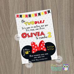 Invitación de Minnie Mouse Minnie Mouse de cumpleaños fiesta