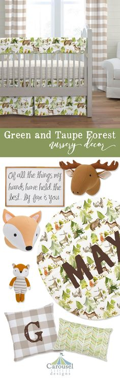 Green and Taupe Forest Nursery Décor collection by Carousel Designs. Decorative items to make your room complete. Decorative Items, Decorative Pillows, Forest Nursery, Carousel Designs, Animal Nursery, Baby Room, Nursery Decor, Illustration, Taupe