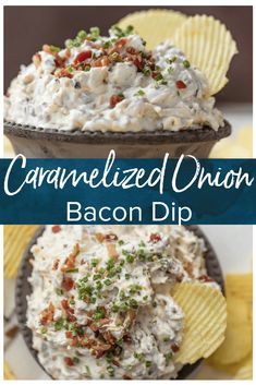 CARAMELIZED ONION DIP is the ultimate super easy appetizer to make for game day! This amazing sour cream and bacon dip is made in minutes and loved by all. It's filled with so much flavor, and so many delicious ingredients, like bacon, sour cream, onions, and chives. #bacon #dip #appetizers #gameday #oniondip #thecookierookie via @beckygallhardin