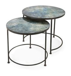"Paxton Metal and Printed Glass Tables - Set of 2 19.75-24""""h x 33-28""""d"