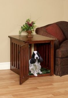 Wood Dog Crate Puppy End Table In Solid Maple Wood