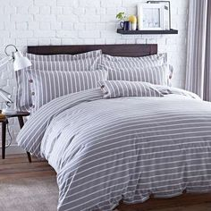 Elements Grey Stripe Bed Linen Collection