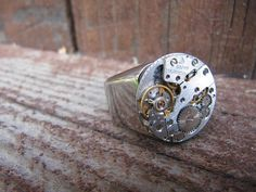 Steampunk Ring Man Stainless Steal Watch Jewelry by LuckySteamPunk, $52.00