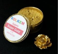 Gold Metallic Super Dust By Rolkem Gold Highlighter Dust Cookie Tutorials, Cake Decorating Tutorials, Cookie Decorating, Gold Fondant, Cake Decorating Equipment, Gold Luster Dust, Cake Supplies, Baking Supplies, Candy Decorations