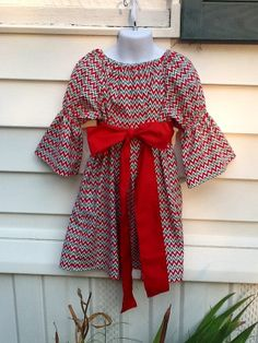 Infant Red White and Green Zig Zag Christmas Peasant Dress with Red Sash on Etsy, $22.00