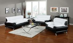 Orel collection modern styling black and white bonded leather sofa and love seat set with chrome legs
