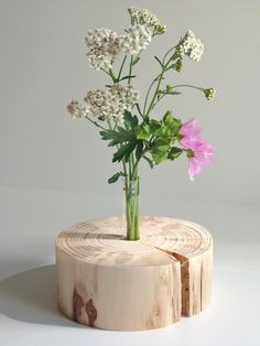 Unique, decorative wooden vase – pure nature – round – honed - Home Decor Wooden Art, Wooden Crafts, Flower Vases, Flower Pots, Plant In Glass, Wood Vase, Wooden Planters, Wood Interiors, Wood Slices