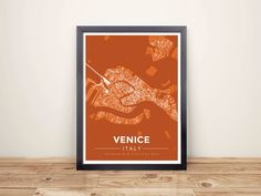 Framed Map Poster of Venice Italy - Modern Burnt - Venice Map Art