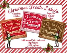 christmas candy treats | Candy Labels Christmas Treats Tag Digital Download Printable Collage ...