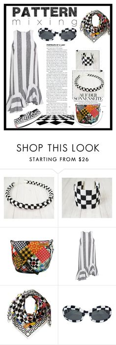 """""""checkerboard"""" by szkatulkaami ❤ liked on Polyvore featuring Paper London, Versace, Vans, Summer, black, pattern, checkerboard and patternmixing"""