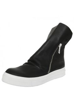 Skin Zip Leather Boot Black