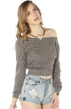 The All Day Cropped Sweatshirt in Black Heather $44.00