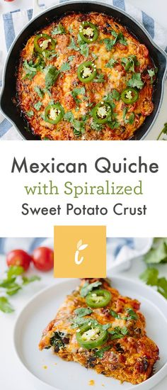 Mexican Quiche with Spiralized Sweet Potato Crust - Weight Watchers SmartPoints*: 10 points