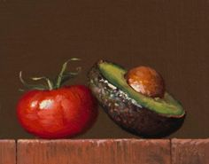 """Still Life with Vine Tomato & Avocado Half"" original fine art by Abbey Ryan Avocado Art, Food Painting, Plant Painting, Still Life Oil Painting, Oil Painting For Sale, Fruit And Veg, Fruits And Veggies, Vegetables, Avocado"