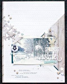 *stillness is the flower of winter* by JanineLanger at Studio Calico Scrapbooking A4, Paper Bag Scrapbook, Scrapbook Sketches, Scrapbook Page Layouts, Scrapbook Cards, Studio Calico, How To Make A Paper Bag, Freebies, Web Design