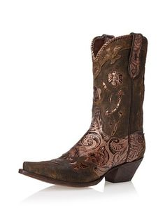 Dan Post Women's Penny Western Boot (Brown/ Bronze Floral Leather)