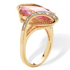 8.06 TCW Marquise-Cut Pink Cubic Zirconia Bypass Cocktail Ring 18k Yellow Gold-Plated at Viomart.com