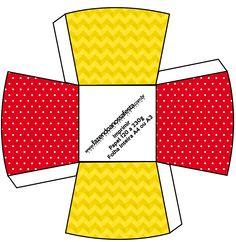 Chachepô de Mesa Poá Vermelho e Listras Amarelo: