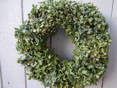 Hydrangea Wreath  Dried Hydrangeas  Natural Wreath  Green Wreath  Home Decor  Shabby Chic  Wall Decoration by donnahubbard on Etsy